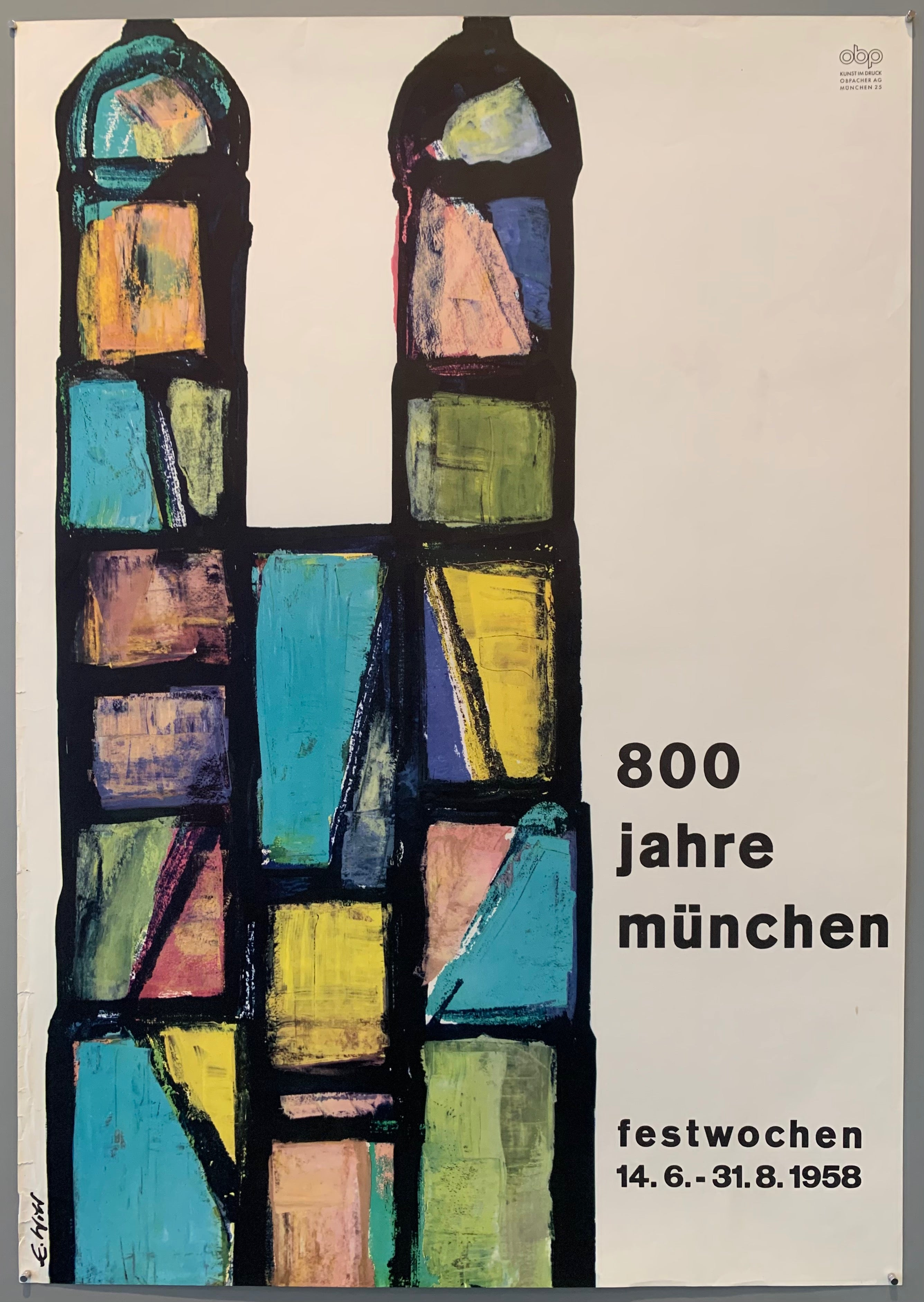 Shows an abstract painting of the Frauenkirche in Munich next to title over a white background.