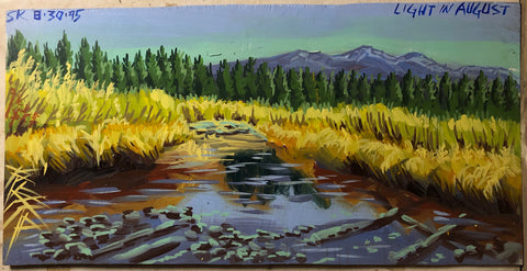A Steve Keene painting of a river surrounded by yellow grass and green pine trees and blue mountains.