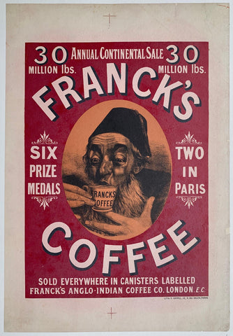 "Franck's Coffee ""Sold Everywhere in Canisters labelled Franck's Anglo-Indian Coffeee Co. London"""