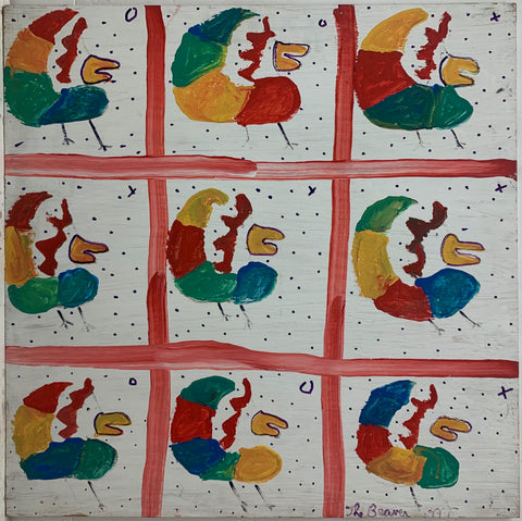 A painting by The Beaver divided into nine panels, in each an identical rainbow chicken.