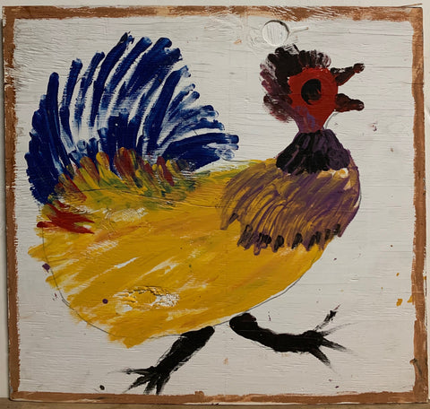 A Jimmie Lee Sudduth painting of a multi-colored hen.