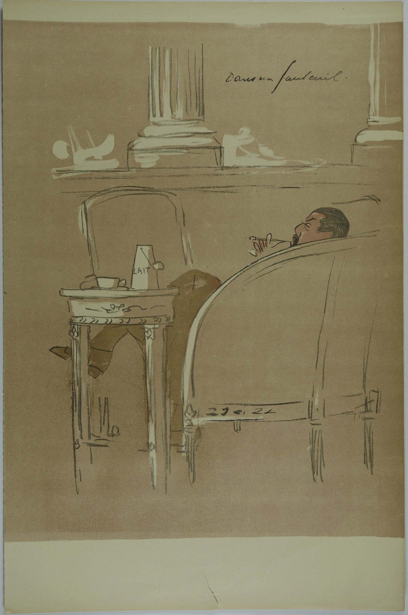 Man sitting down smoking Lithograph