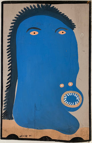 A Mose Tolliver self-portrait in blue.