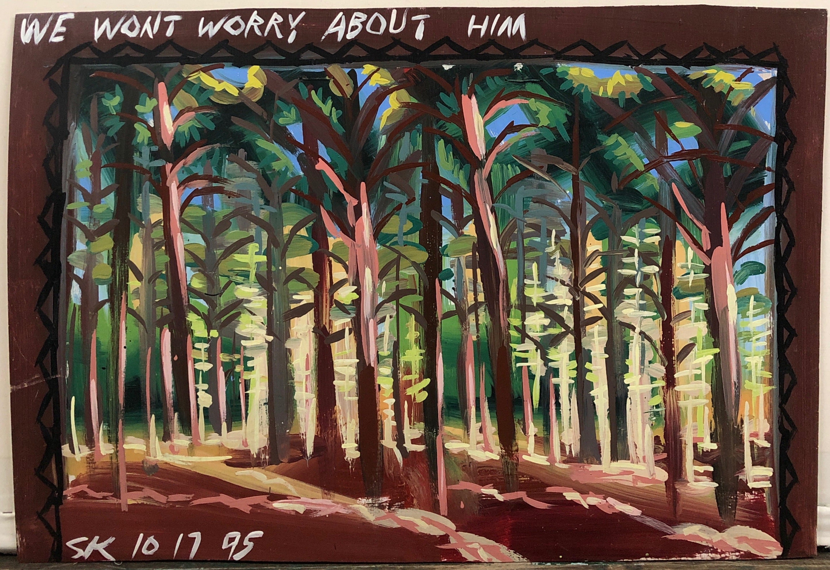 A Steve Keene painting of a forest full of tall skinny trees.