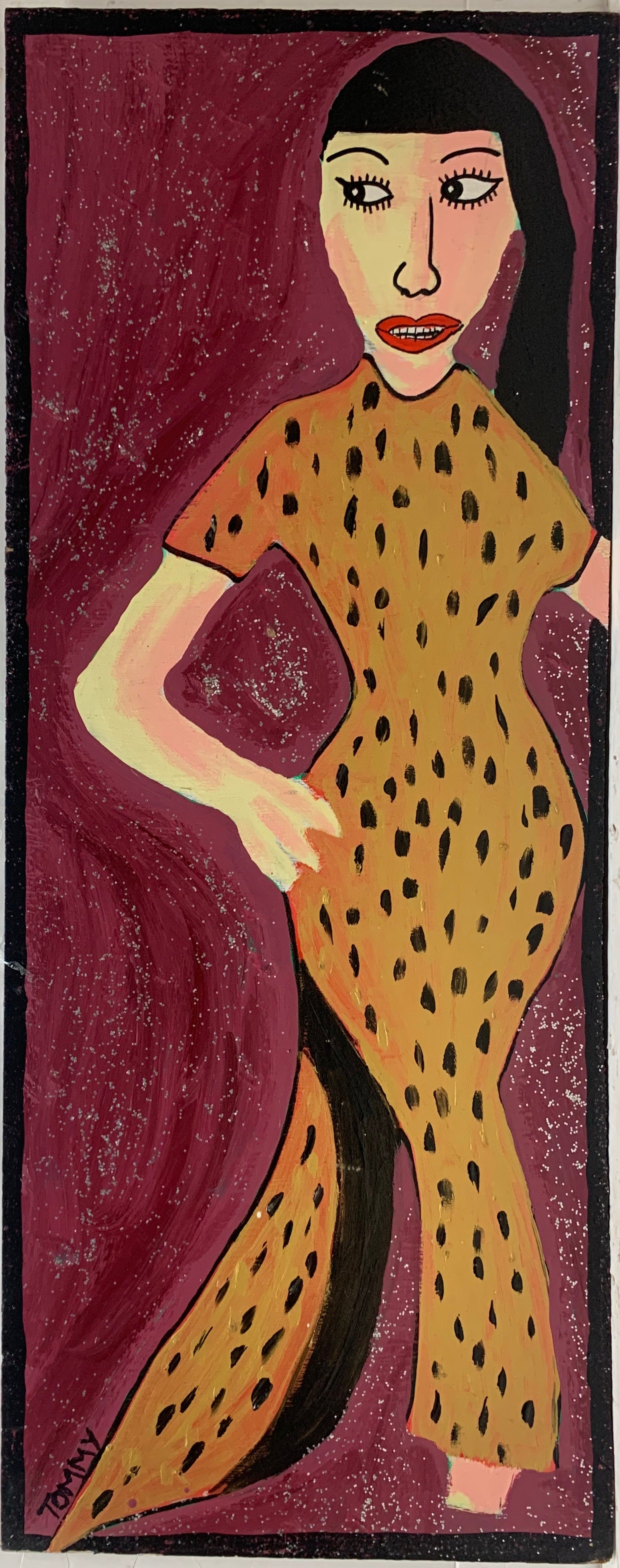 A Tommy Cheng portrait of Jadin Wong in a leopard-print dress against a maroon background.