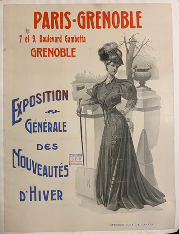 Turn of the Century poster of a woman in a long dress decorated with medals.