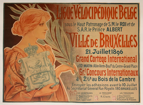 Turn of the Century poster of a woman in a rose dress holding a coat of arms in one hand and a branch in the other.