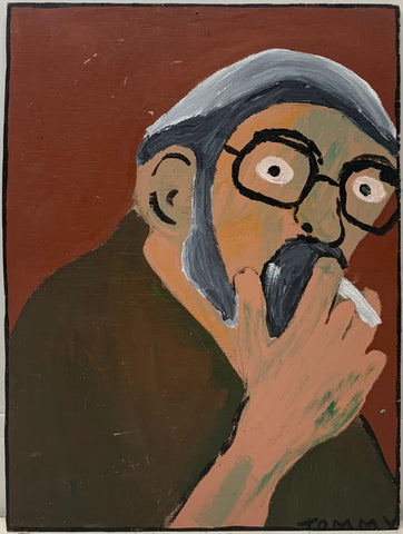 A Tommy Cheng portrait of a man smoking a cigarette.