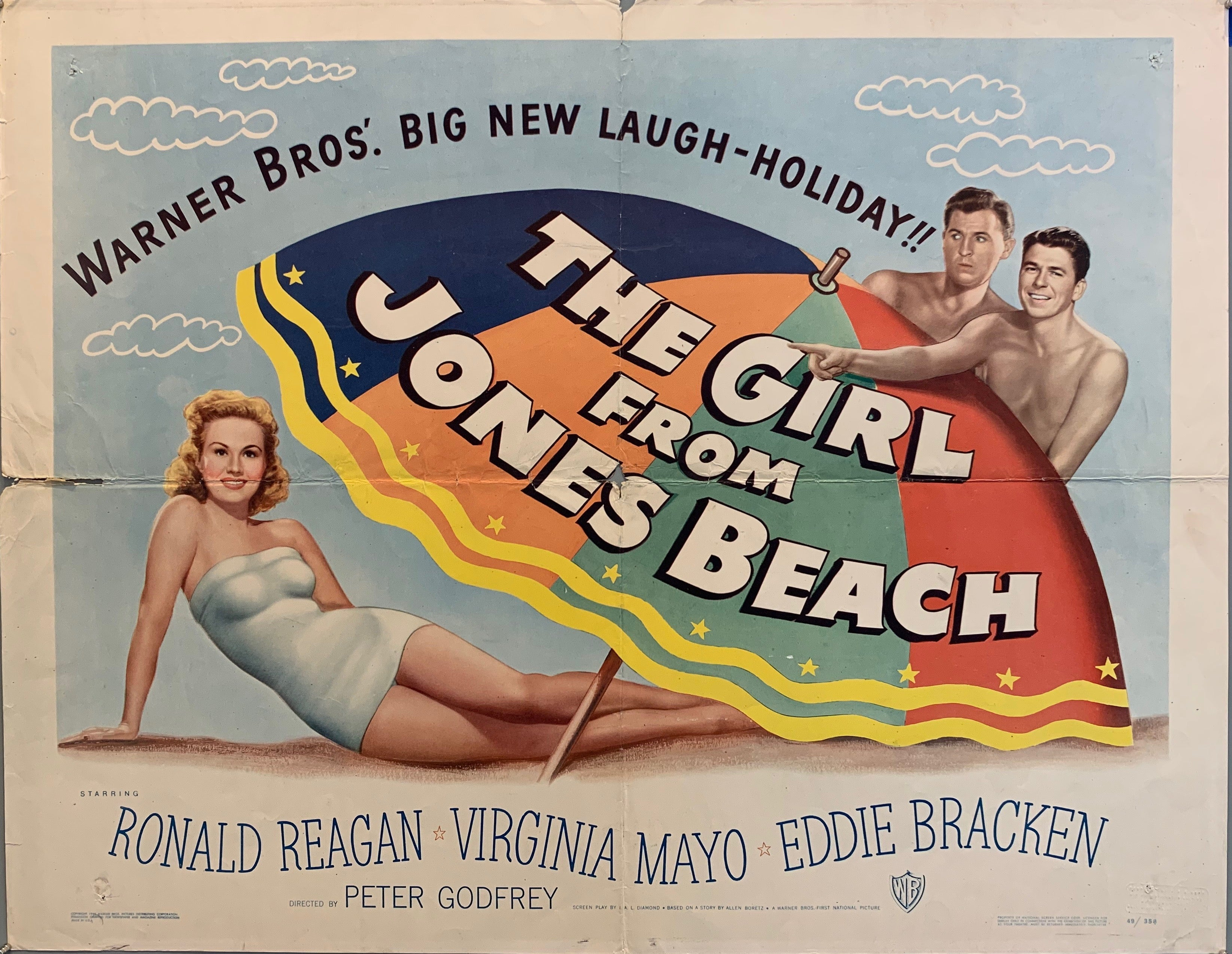 The Girl From Jones Beach movie poster 2 men behind umbrella pointing at blond lady
