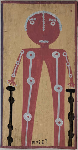A Mose Tolliver self-portrait with crutches and a visible skeleton.