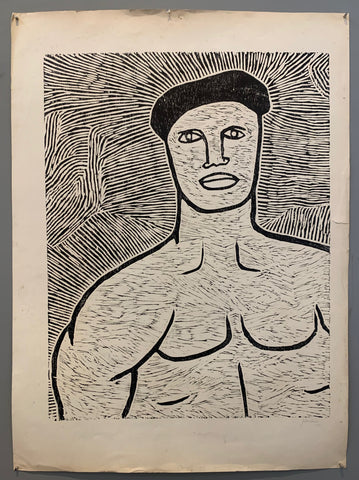 Muscled Man Woodblock Print