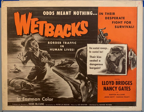 man standing in river about to be shot, man kissing a girl, wetbacks movie poster