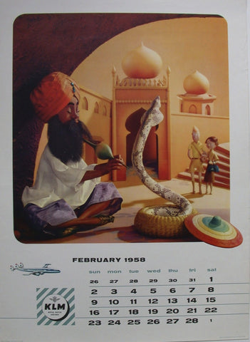 Royal Dutch Air Lines India Snake Charmer
