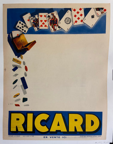 Poster for Ricard liqueur, illustrated with a playing card design.
