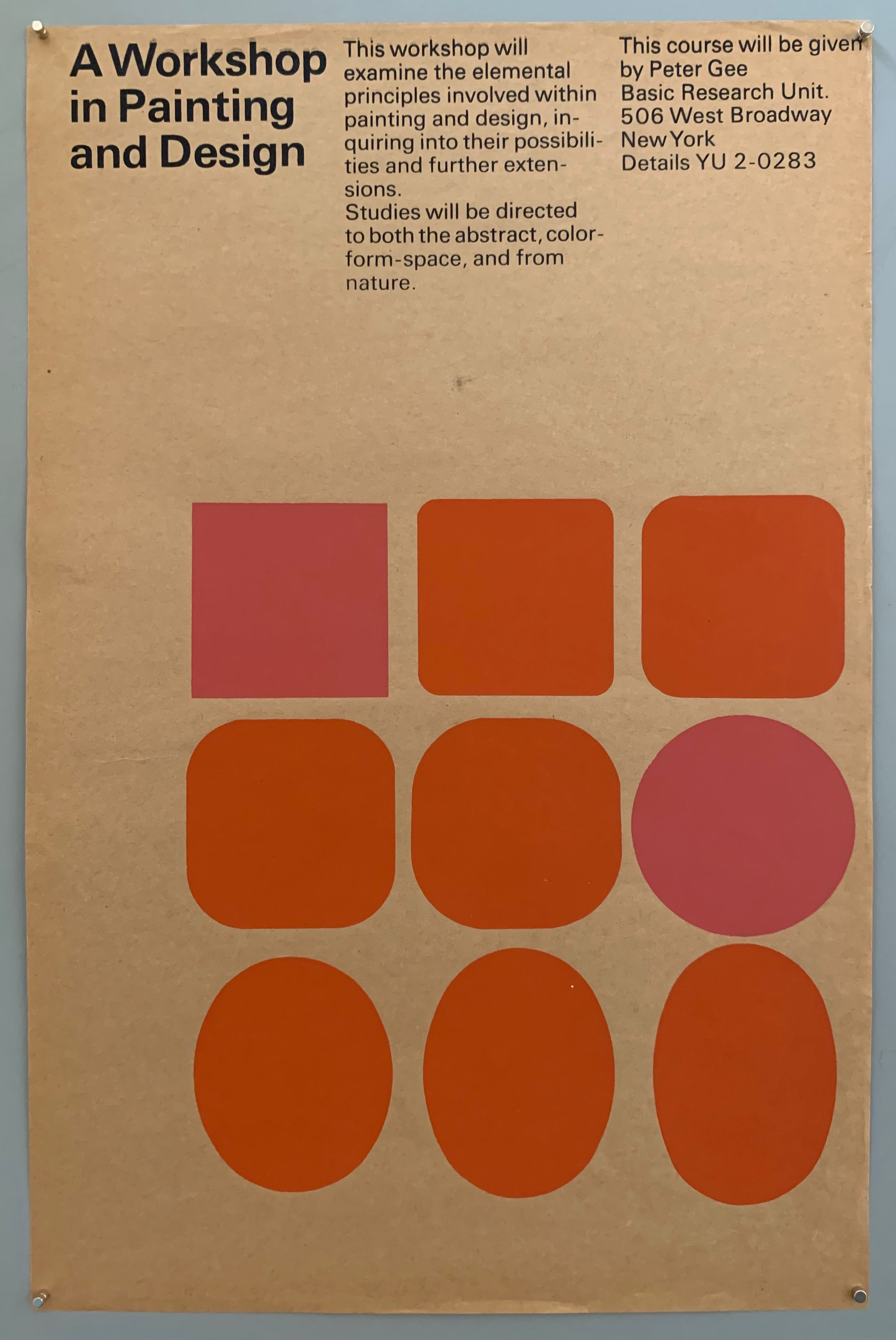 A plain sheet with black text at the top has a square of shapes, starting out in squares and then turning to circles. The colors are pinks and oranges on a tan textured paper.