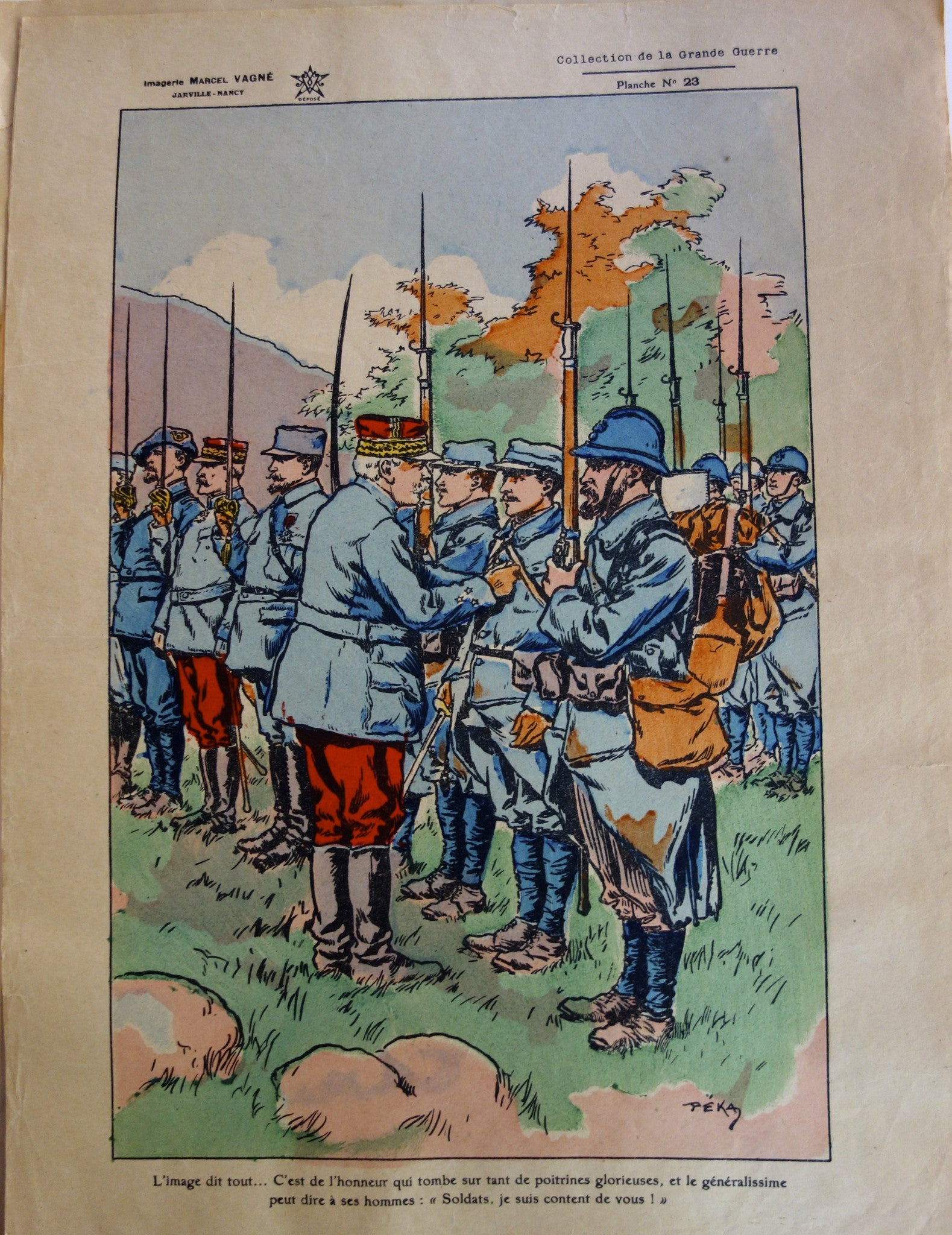 French Soldiers receiving promotions