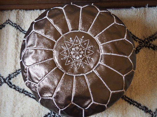 Moroccan Faux Leather Poufs Bronze