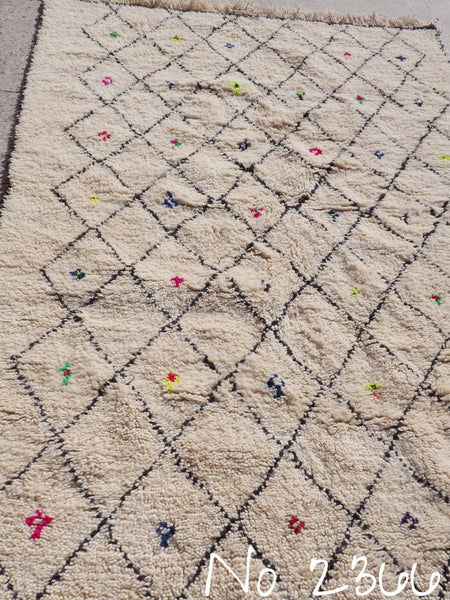 Beni Ourain Tribal Carpet - 240 x 157 cm - Agadir - Natural Wool - 2366