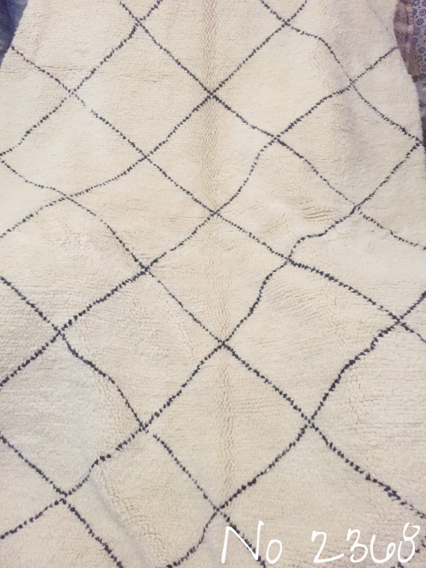 Beni Ourain Tribal Carpet - 230 x 162 cm - Casablanca - Natural Wool - 2368