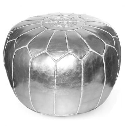 Moroccan Faux Leather Pouffe Silver