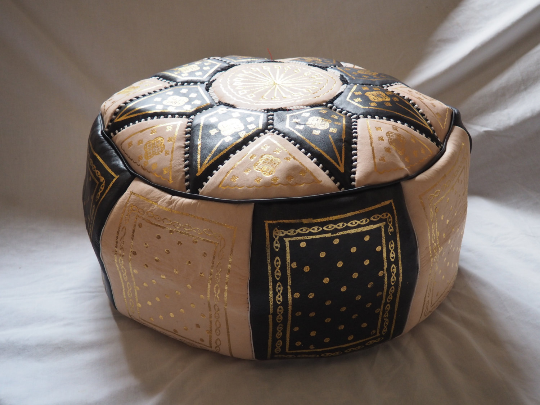 Moroccan Leather Pouffe Black, Gold and Natural