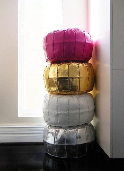 Moroccan Leather Pouffes