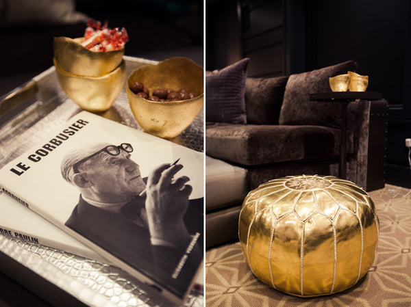 Moroccan Faux Leather Pouffe Gold