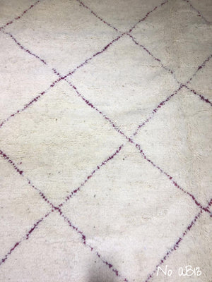 Beni Ourain Carpet - 310x205cm - FATHOUNE - Natural Wool - AB13 - Pink-Purple Lines - Carpets - THE PEOPLE OF SAND