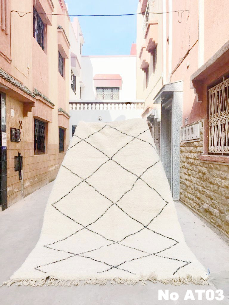 Beni Ourain Carpet - 320x210cm - ALYA - Natural Wool - AT03