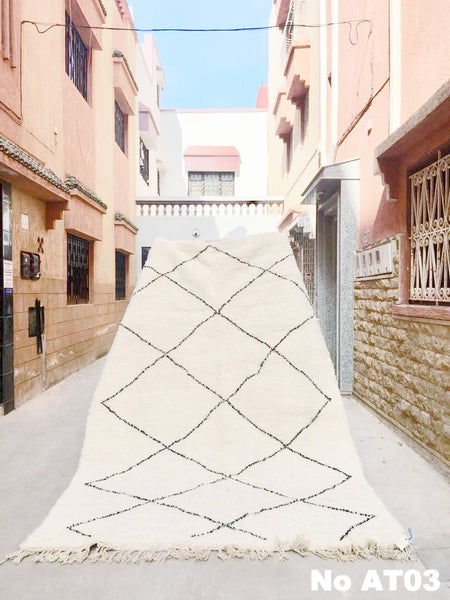 Beni Ourain Carpet - 320x210cm - ALYA - Natural Wool - AT03 - Carpets - THE PEOPLE OF SAND