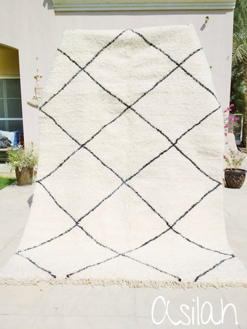BESTSELLER - Beni Ourain Carpet - 300x200cm (9'8x6'5) - Large Triangles - Asilah - Natural Wool