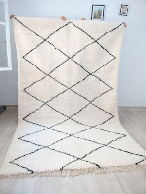 Beni Ourain Carpet - 335x208cm - 3-Seat Sofa - Natural Wool - SH14