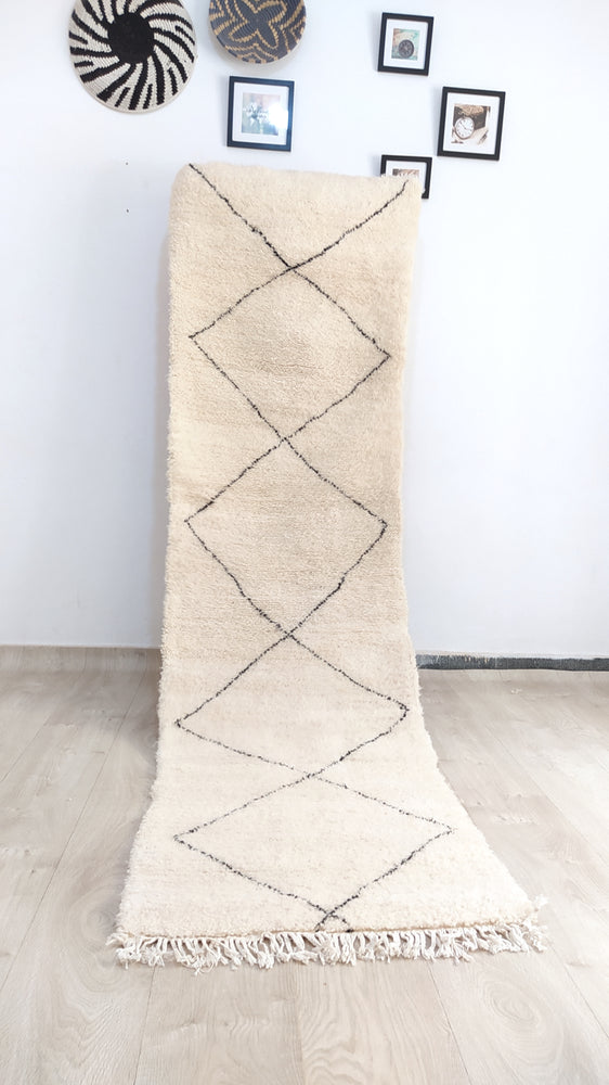 Beni Ourain Carpet - 310x85cm - Corridor - Natural Wool - SEP09