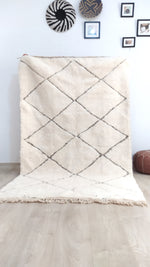 Beni Ourain Carpet - 254x162cm - 3-seat sofa - Natural Wool - SEP14