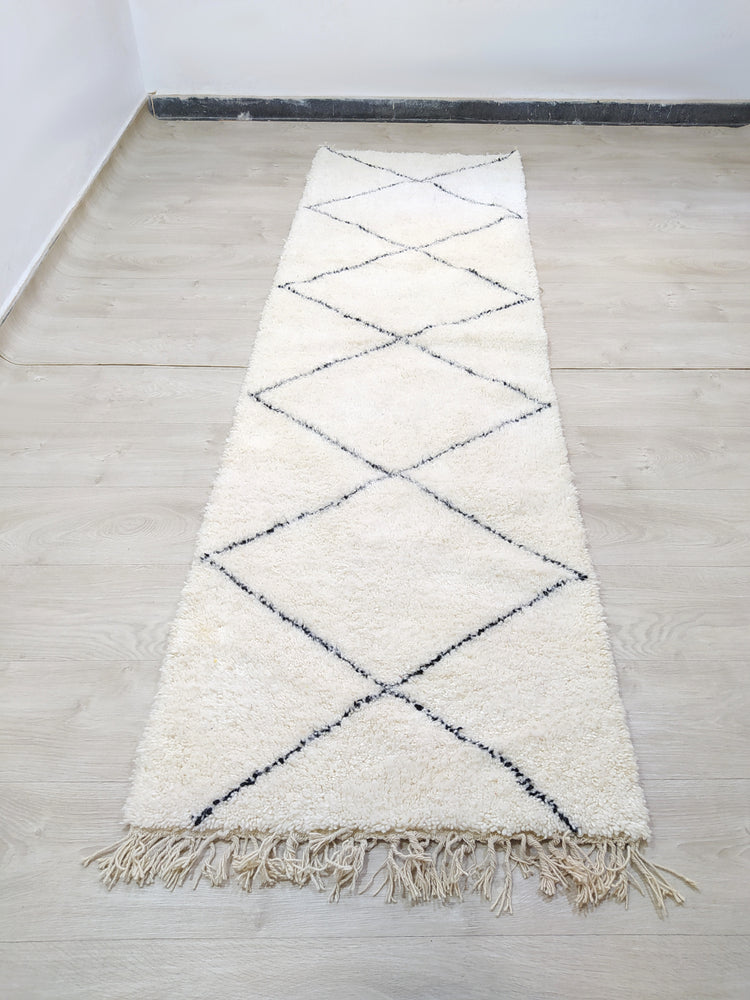 Beni Ourain Carpet - 300x88cm - Hallway - Natural Wool - HYMARS20