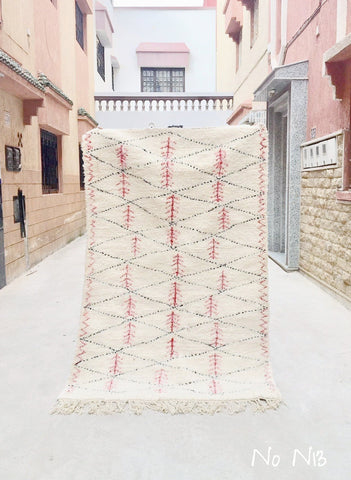 Beni Ourain Carpet - 210x130cm  - SAFAE - Natural Wool - N13