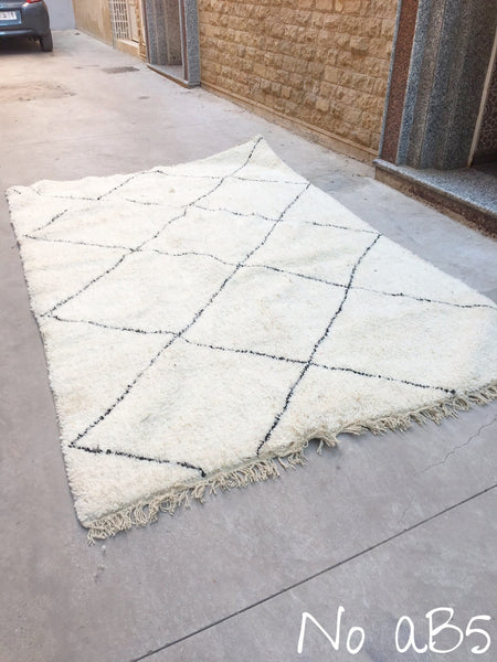 Beni Ourain Carpet - 307x197cm - MOULOUYA - Natural Wool - AB5 - Carpets - THE PEOPLE OF SAND