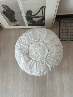 Leather Poufs White