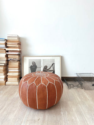 Leather Poufs Brown
