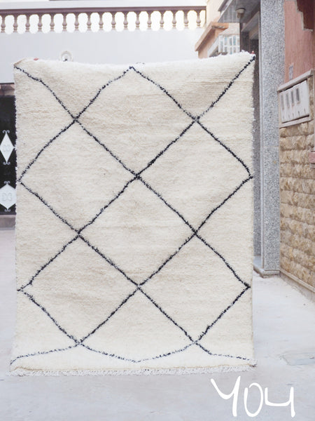 Beni Ourain Carpet - 220x154cm - Casablanca - Natural Wool - Y04 - Carpets - THE PEOPLE OF SAND