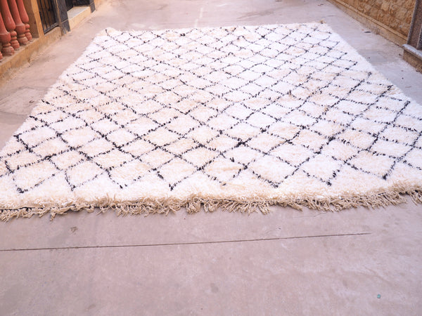 Beni Ourain Carpet - 395x298cm XXL - Ouazzane - Natural Wool - KA01 - Carpets - THE PEOPLE OF SAND