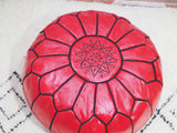 Moroccan Leather Pouffe Red Ruby
