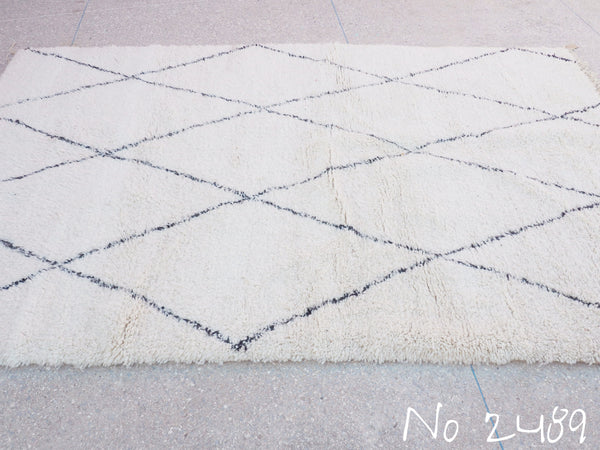 Beni Ourain Carpet - 289x180cm - Large Triangles - Amal - Natural Wool - 2489