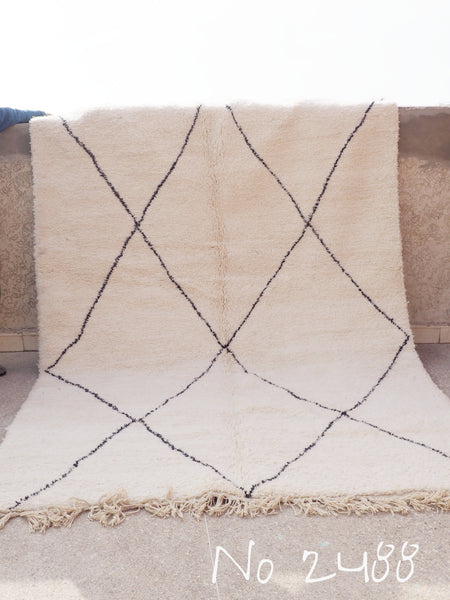 Beni Ourain Carpet - 330x218cm - Medium Triangles - Naxine - Natural Wool - 2488
