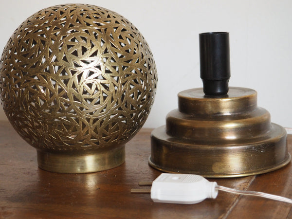 Engraved Brass Round Table Lamp Small