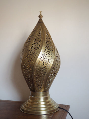 Engraved Brass Twisted Table Lamp Large