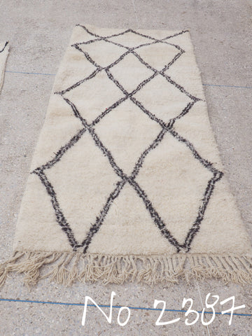 Beni Ourain Tribal Carpet - 200 x 94 cm - Wadi - Natural Wool - 2387