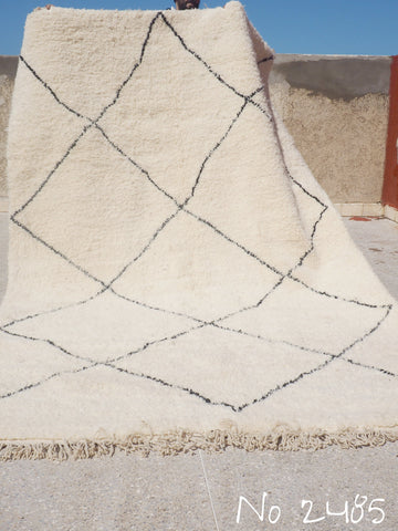Beni Ourain Carpet - 305x190cm - Large Triangles - Rehana - Natural Wool - 2485