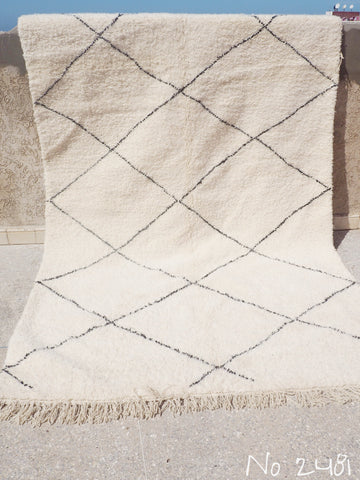 Beni Ourain Carpet - 310x195cm - Large Triangles - Nahla - Natural Wool - 2481