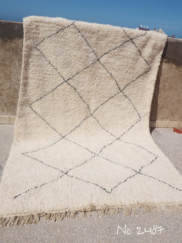 Beni Ourain Carpet - 320x200cm - Large Triangles - Mourad - Natural Wool - 2487